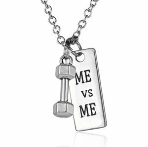 ME vs ME Dumbell Fitness CrossFit Pendant Necklace
